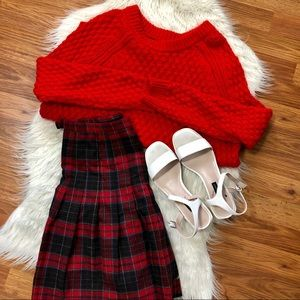 h&m bright red knit sweater